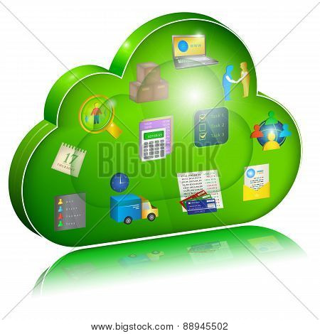 Digital Enterprise Management In Cloud Application. Concept Icon.