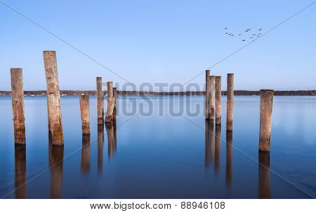Pillars For A Berth In The Baltic Sea