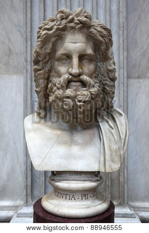 ROME, ITALY - DECEMBER 19, 2011: Roman marble bust of Zeus displayed in the Museo Pio Clementino of the Vatican Museums in Rome, Italy.