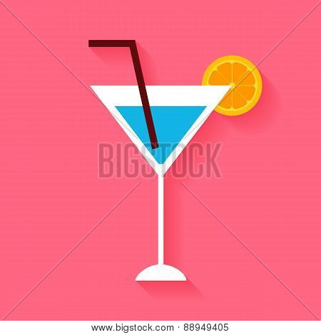 Flat Cocktail With Orange Slice And Tubule