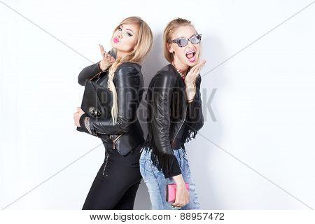 Two Beautiful Girls Posing.