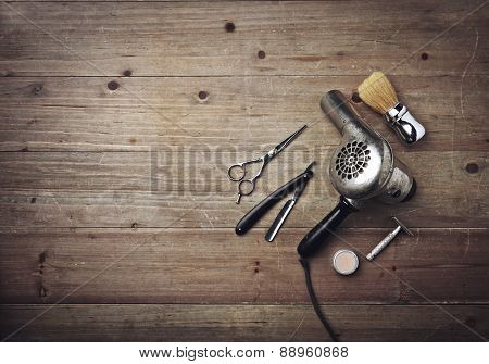 Vintage Barber Equipment On Wood Background With Place For Text