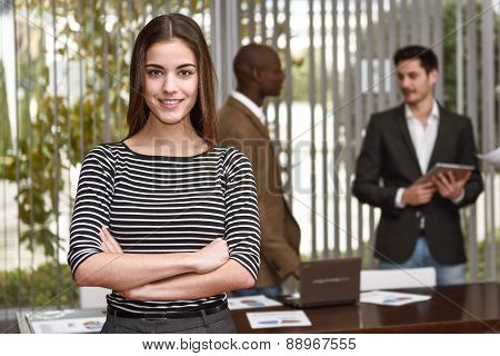Businesswoman Leader With Arms Crossed In Working Environment