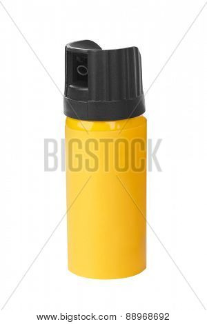 Bottle of pepper spray isolated on white background