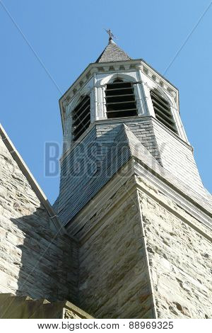 Zion Episcopal Church tower on North Chenango Street Greene NY;  a major Gothic Revival edifice designed by prominent New York City architect Henry Congdon