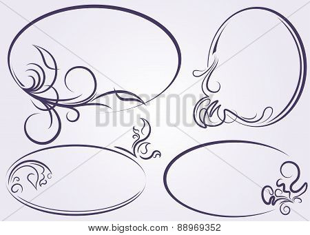 Beautiful collection of oval frames on a light background. Vector illustration for your design.