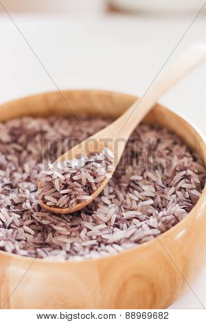 Berry Rice In Wooden Bowl