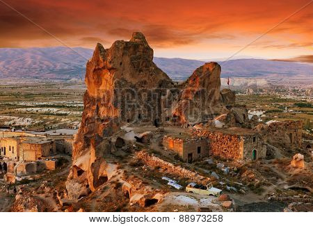 Uchisar castle at sunset, Cappadocia, Turkey