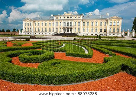 Rundale palace, former summer residence of Latvian nobility with a beautiful gardens around