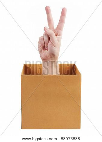 Hand Out Of The Box Indicates That All Is Well
