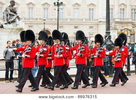Guards Of Honor At The Buckingham Palace In London