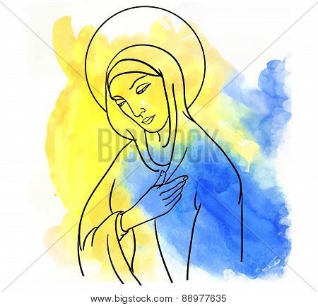 Mary Magdalene  on watercolor style colorfull backround poster