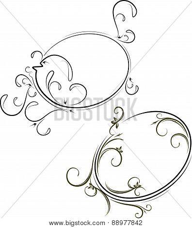 A pair of oviform, elegant frames. Vector illustration for your design.