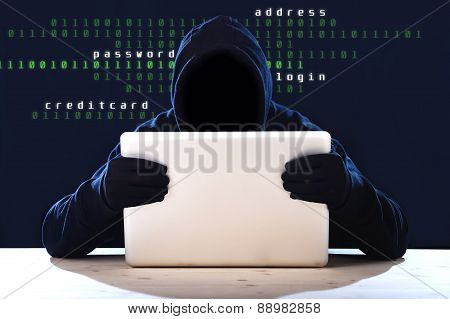 Hacker Man In Black Hood And Mask With Computer Laptop Hacking System In Digital Intruder Cyber Crim