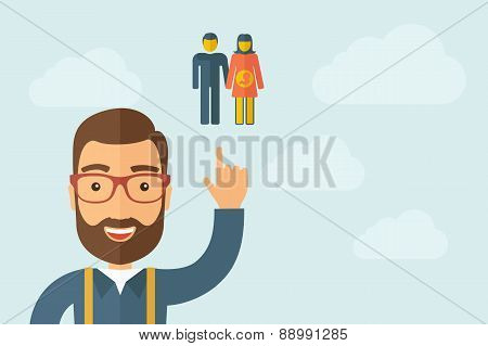 Man pointing the man with a pregnant women icon