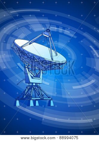 satellite dishes antenna - doppler radar & blue radial technology background, radial HUD interface elements