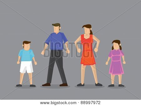 Nuclear Family With Two Children Vector Illustration