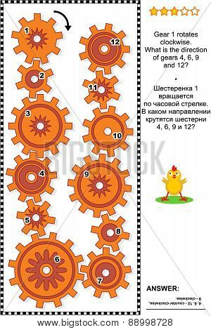 Visual mechanics or math puzzle with rotating clockwise and counterclockwise gears. Answer included. poster