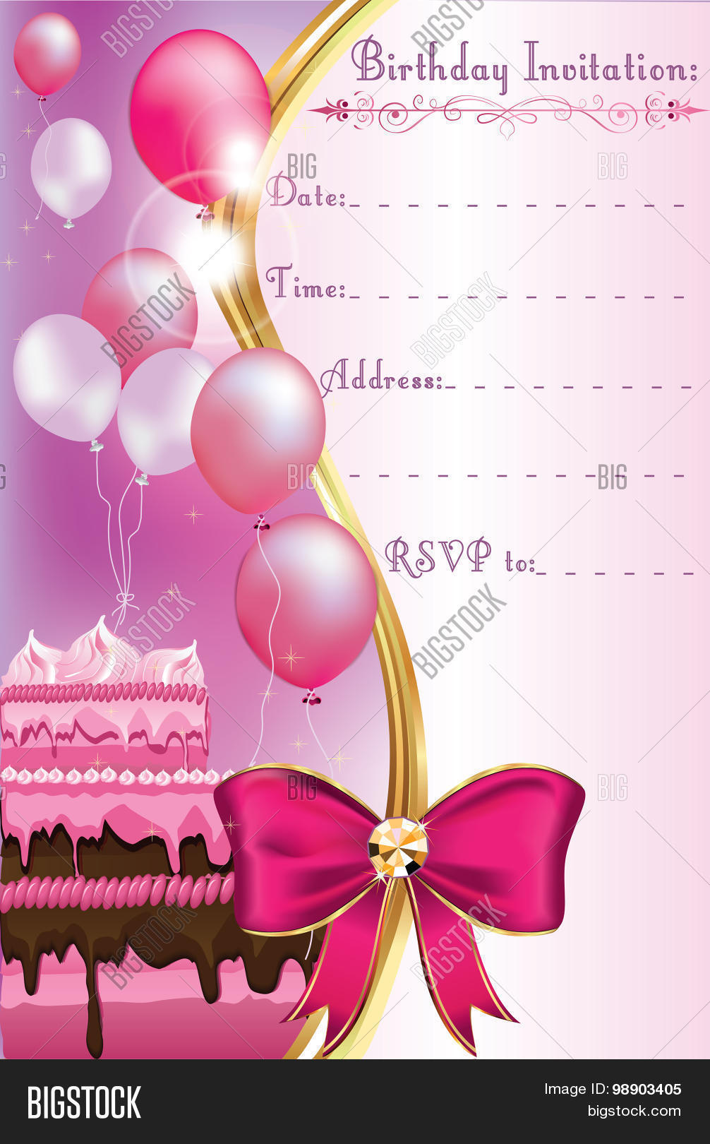 Birthday Invitation Vector Photo Free Trial Bigstock
