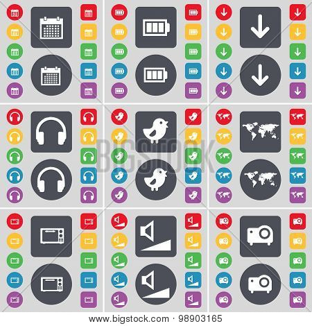 Calendar, Battery, Arrow Down, Hearphones, Bird, Globe, Microwave, Volume, Projector Icon Symbol. A