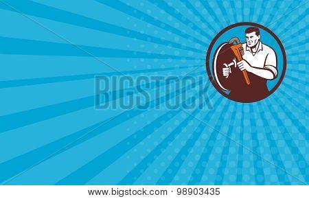 Business Card Plumber Brandishing Wrench Circle Retro