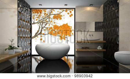 Interior of  stylish bathroom with black floor 3D rendering