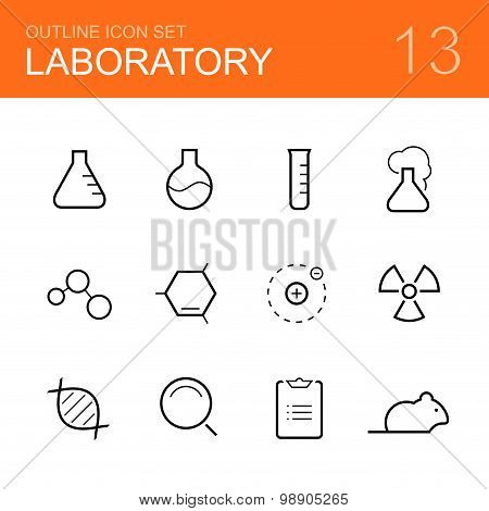Chemistry laboratory vector outline icon set - bottle, tube, reaction, molecule, atom, radiation, dna, research, report and rat poster