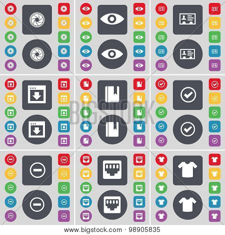 Lens, Vision, Contact, Window, Dictionary, Tick, Minus, Lan Socket, T-shirt Icon Symbol. A Large Set