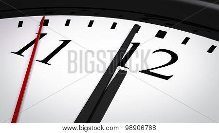 Close-up of a clock striking twelve o'clock