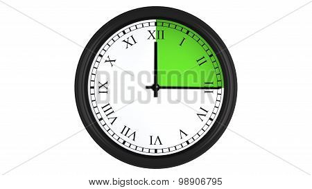 Roman wall clock with green 15 minutes time interval