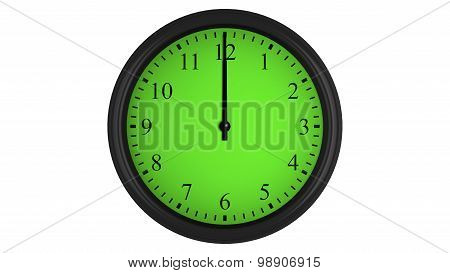 Wall clock with a green 60 minutes time interval