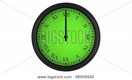 Roman wall clock with green 60 minutes time interval