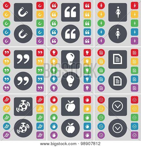 Magnet, Quotation Mark, Silhouette, Quotation Mark, Light Bulb, Text File, Speaker, Apple, Arrow Dow