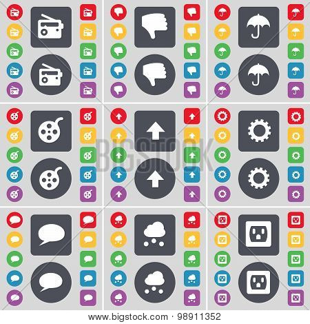 Radio, Dislike, Umbrella, Videotape, Arrow Up, Gear, Chat Bubble, Cloud, Socket Icon Symbol. A Large