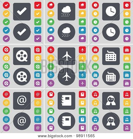 Tick, Cloud, Clock, Videotape, Airplane, Keyboard, Mail, Notebook, Avatar Icon Symbol. A Large Set O
