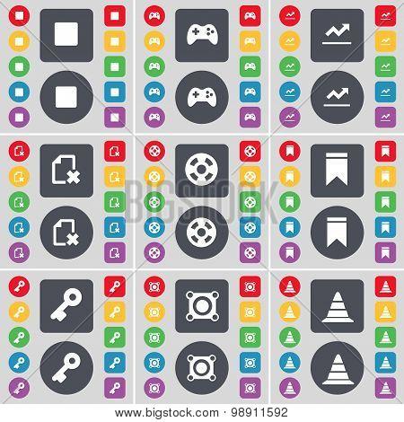 Media Stop, Gamepad, Graph, File, Videotape, Marker, Key, Speaker, Cone Icon Symbol. A Large Set Of