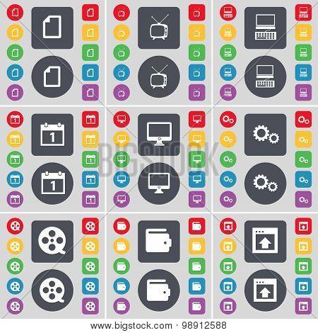 Fire, Retro Tv, Laptop, Calendar, Monitor, Gear, Videotape, Wallet, Window Icon Symbol. A Large Set