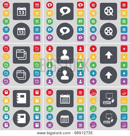 Calendar, Chat Bubble, Videotape, Window, Avatar, Arrow Up, Notebook, Calendar, Pc Icon Symbol. A La