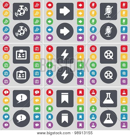 Speaker, Arrow Right, Microphone, Contact, Flash, Videotape, Checkpoint, Marker, Flask Icon Symbol.