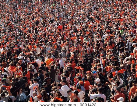 Giants Fans Wave Orange Rags And Cheer To Rally Team