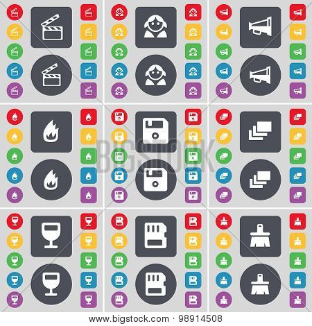 Clapper, Avatar, Megaphone, Fire, Floppy, Gallery, Wineglass, Sim Card, Brush Icon Symbol. A Large S