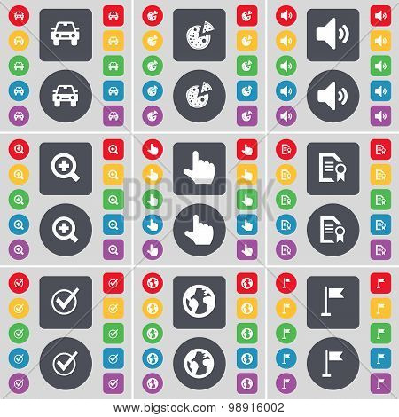 Car, Pizza, Sound, Magnifying Glass, Hand, Text File, Tick, Earth, Golf Hole Icon Symbol. A Large Se