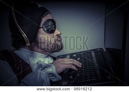 Violation, computer security, hacker pirate dress with hat and skull