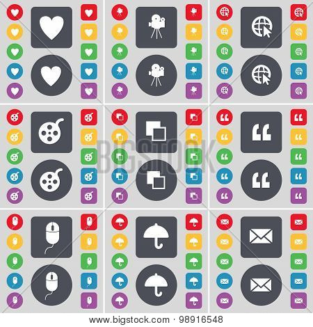 Heart, Film Camera, Web Cursor, Videotape, Copy, Quotation Mark, Mouse, Umbrella, Message Icon Symbo