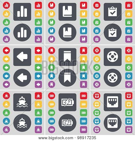 Diagram, Dictionary, Survey, Arrow Left, Marker, Videotape, Ship, Charging, Lan Socket Icon Symbol.
