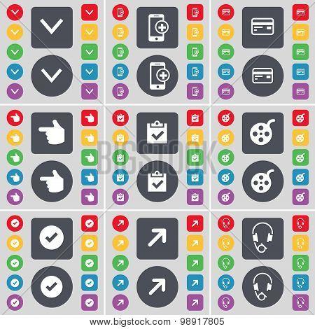 Arrow Down, Smartphone, Credit Card, Hand, Survey, Videotape, Tick, Full Screen, Headphones Icon Sym
