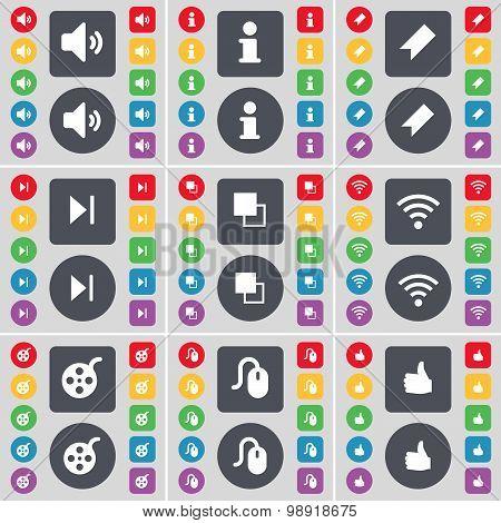 Sound, Information, Marker, Media Skip, Copy, Wi-fi, Videotape, Mouse, Like Icon Symbol. A Large Set
