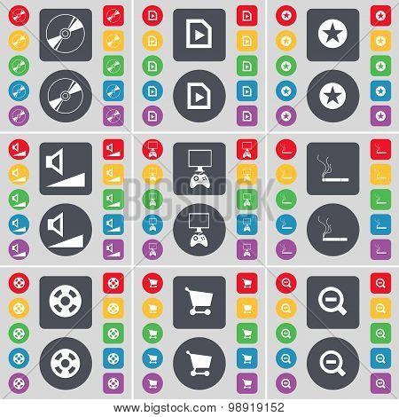 Disk, Media File, Star, Volume, Pc, Cigarette, Videotape, Shopping Cart, Magnifying Glass Icon Symbo