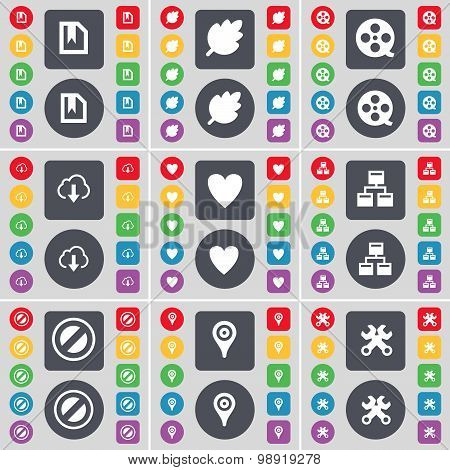 File, Leaf, Videotape, Cloud, Heart, Network, Stop, Checkpoint, Wrench Icon Symbol. A Large Set Of F
