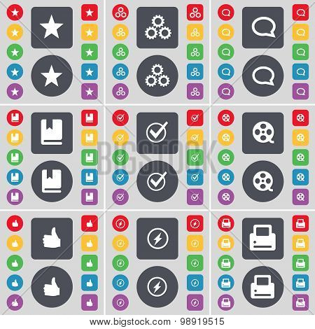 Star, Gear, Chat Bubble, Dictionary, Tick, Videotape, Like, Flash, Printer Icon Symbol. A Large Set